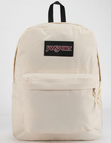 all white JanSport backpack for a minimalistic vibe.