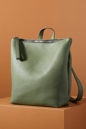sleek and simple olive, box-shaped backpack