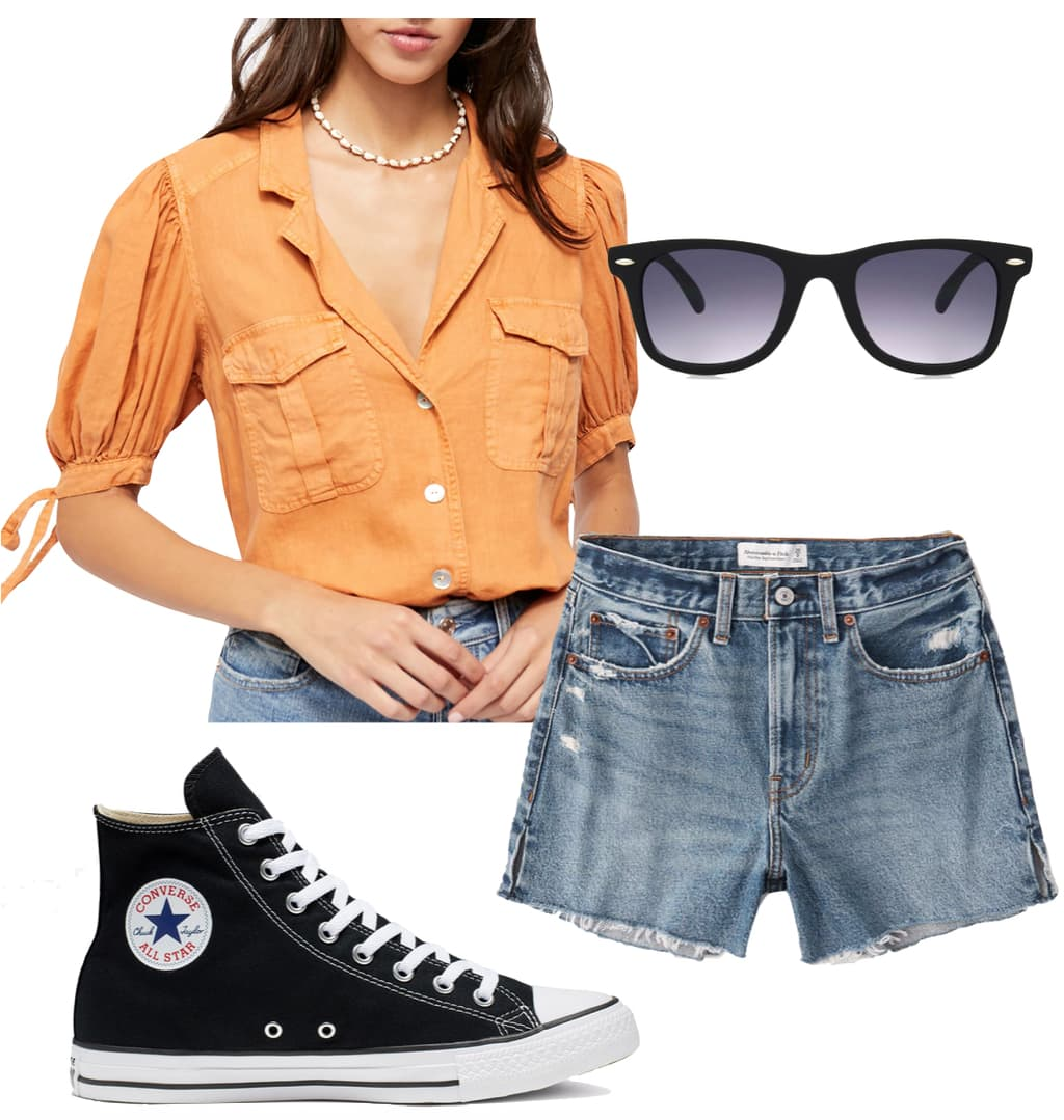 Ashley Benson Outfit: orange button-front short sleeve shirt, black Wayfarer sunglasses, denim shorts, and black high top Converse Chuck Taylor sneakers