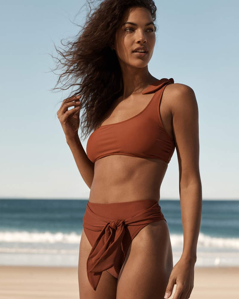 Brown-One-Shoulder-Bikini-Top