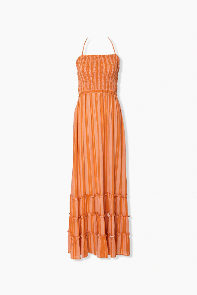 orange spaghetti strap maxi dress