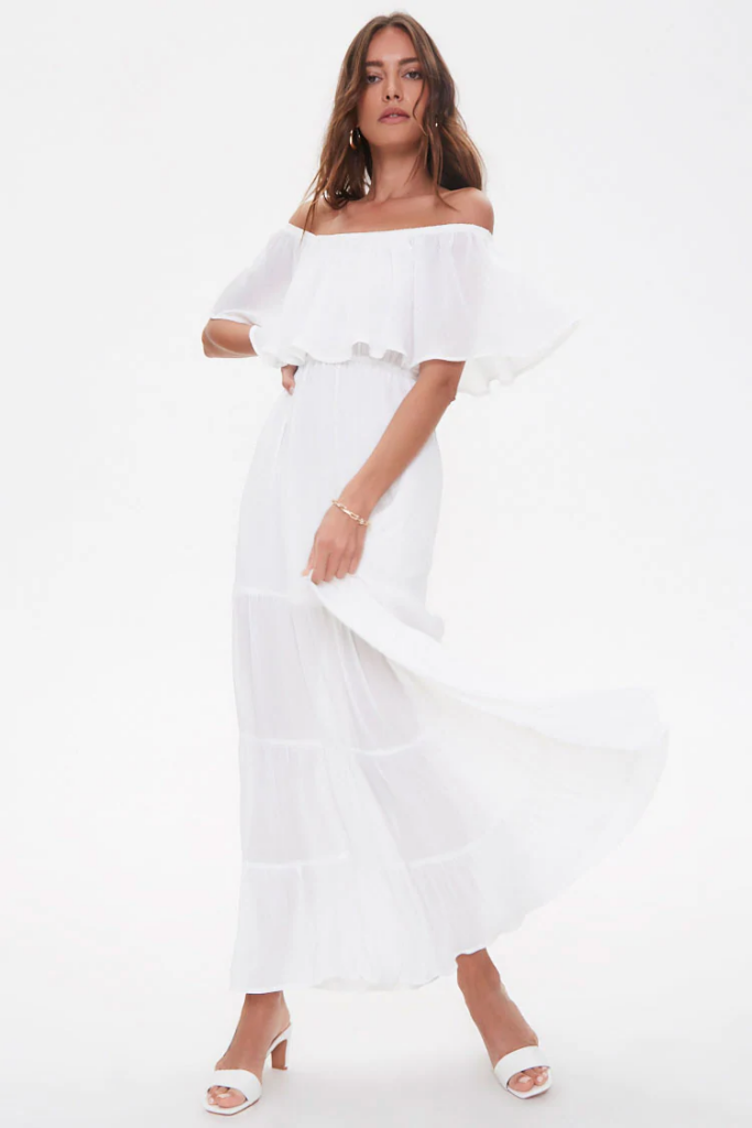 white off the shoulder flowy maxi dress