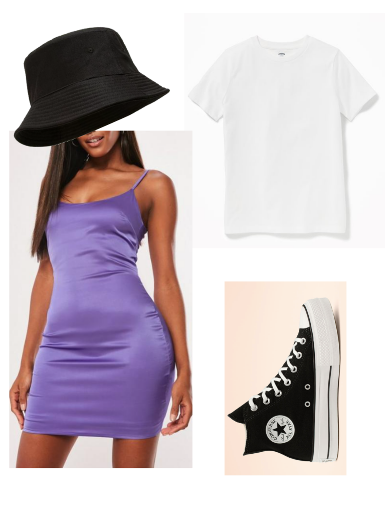 Formal outfit that could be casual: Bucket hat, little purple dress, white t-shirt, Converse high top sneakers