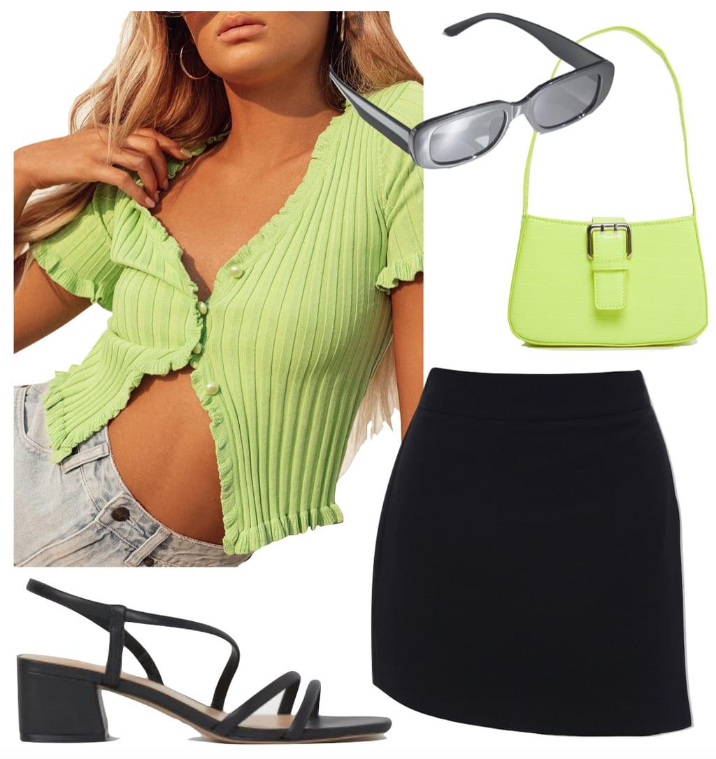 Kendall Jenner Outfit: lime green ribbed short sleeve cardigan top, lime green shoulder bag, black mini skort, black rectangle sunglasses, and black strappy sandals