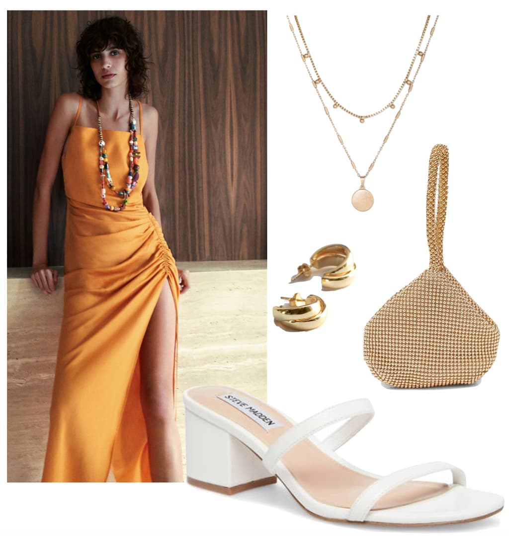 Laura Harrier Outfit: orange midi slip dress, gold layered necklace set, small thick gold hoop earrings, gold metallic purse, and white double strap mule sandals