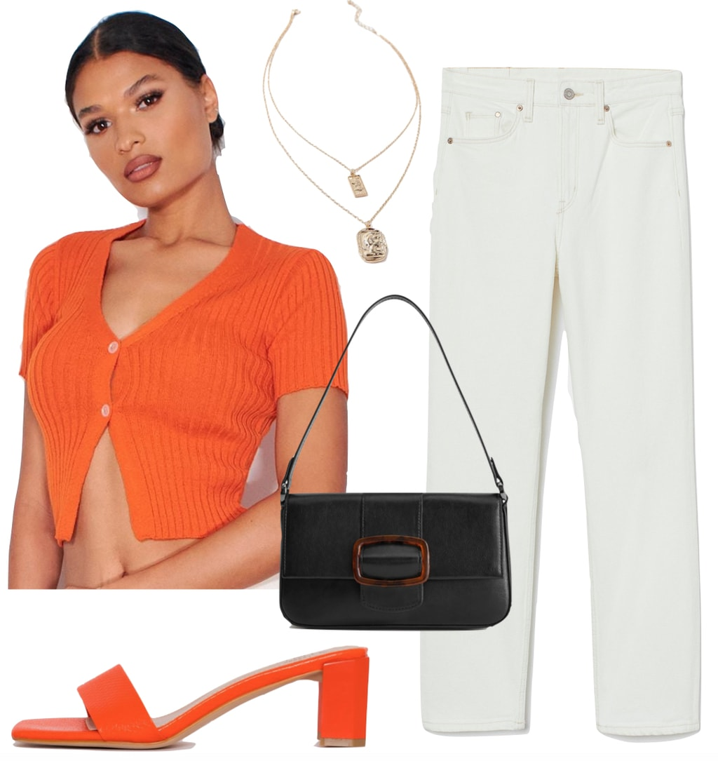 Maddie Ziegler Outfit: orange cropped cardigan top, white straight leg jeans, orange mules, gold pendant necklace, and black and tortoise buckle shoulder bag