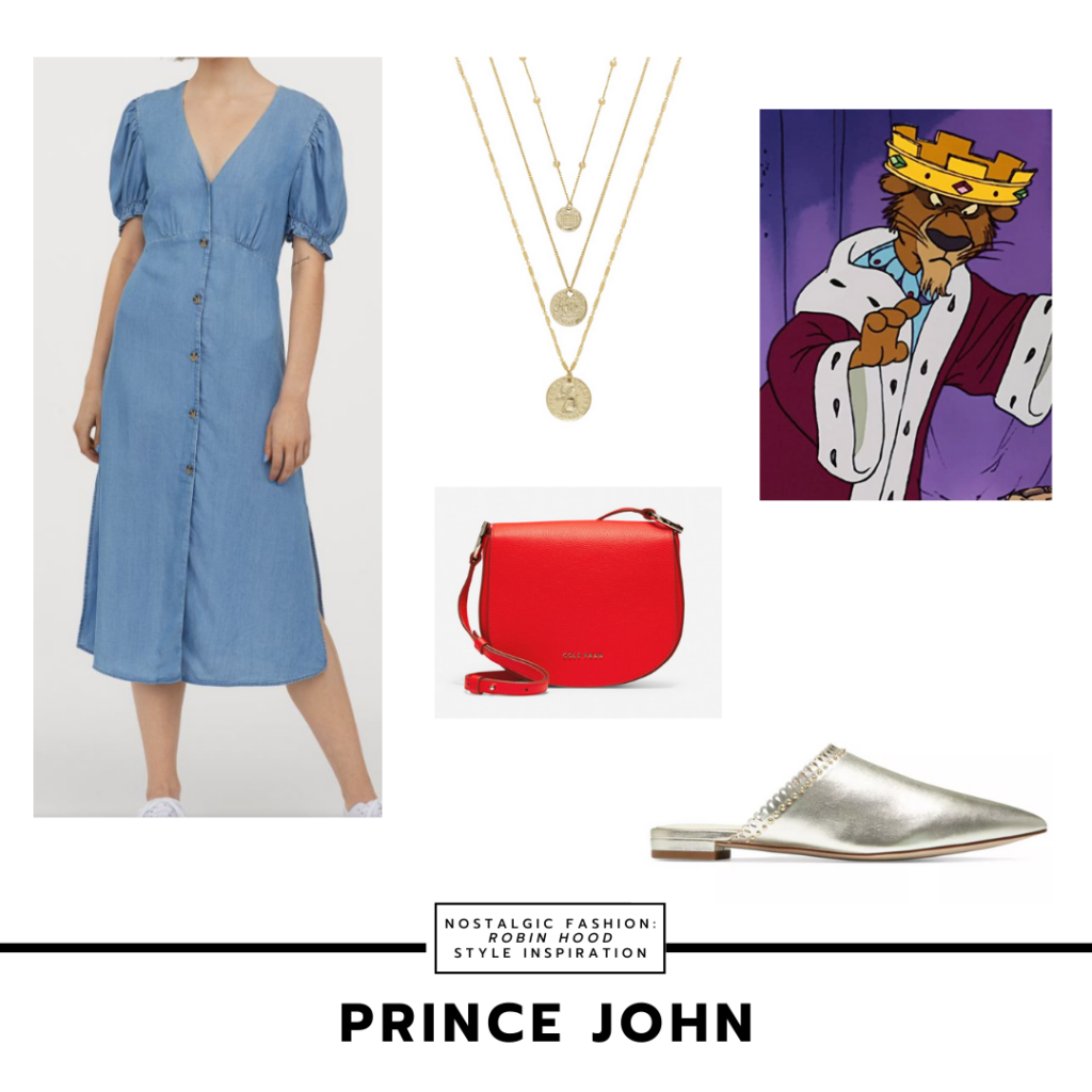 Prince John Disney bound outfit inspired by Robin Hood - blue dress, red purse, layered necklace, slip on mules