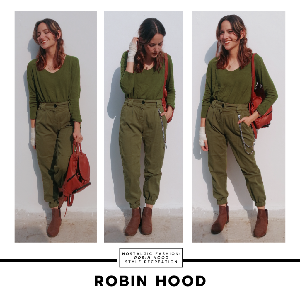 Disneybound inspired by Robin Hood 1973 -- army green pants, v-neck long sleeve shirt, brown ankle boots