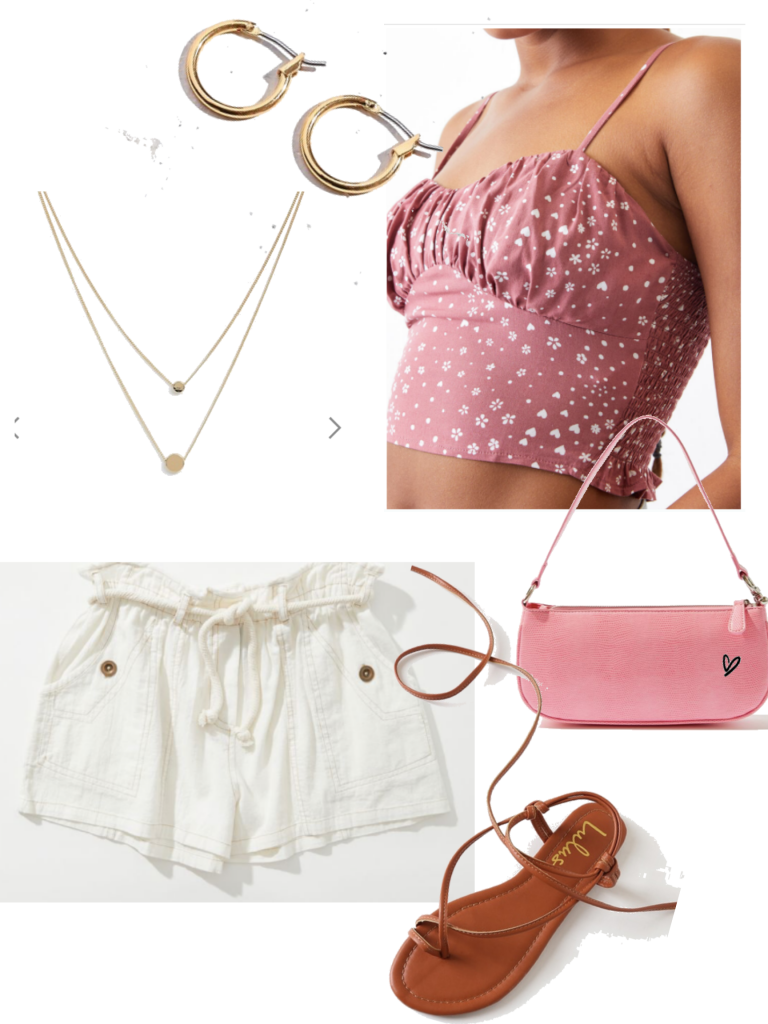 Girly summer outfit with pink crop top, white shorts, pink mini bag, lace up sandals, layered necklace