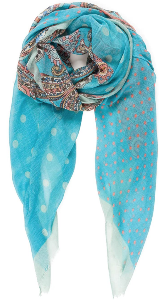 Teal blue paisley scarf from Amazon