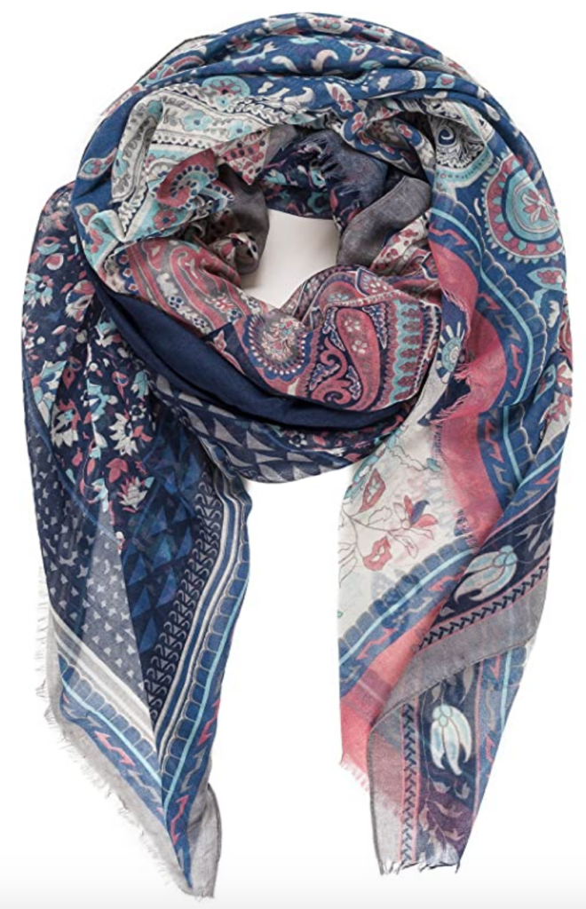 Pink, blue, and teal floral patterned scarf