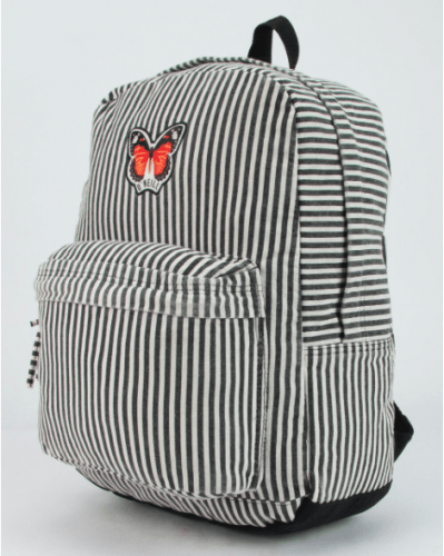 black and white striped backpack with a butterfly patch for indie or grunge looks.