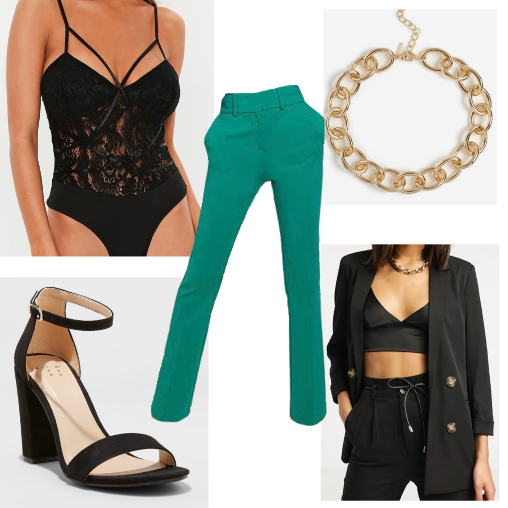 Outfit set featuring green trousers, black jacket, black heels, gold chain necklace, bodysuit