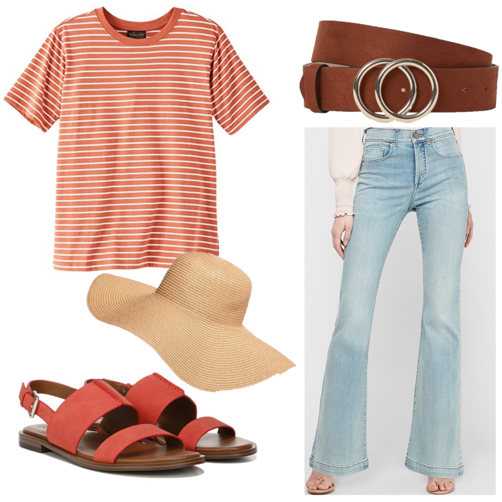 Outfit set featuring an orange t-shirt and orange sandals