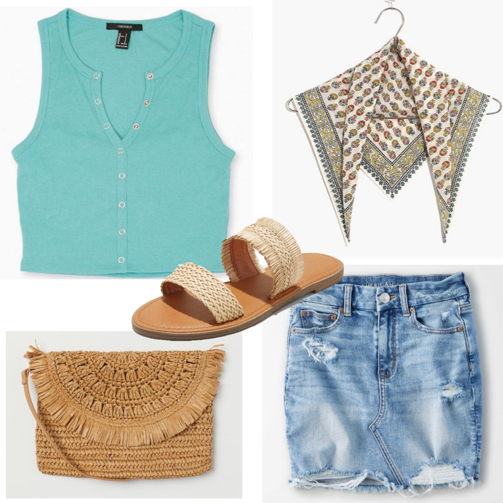 Outfit set featuring a teal tank top