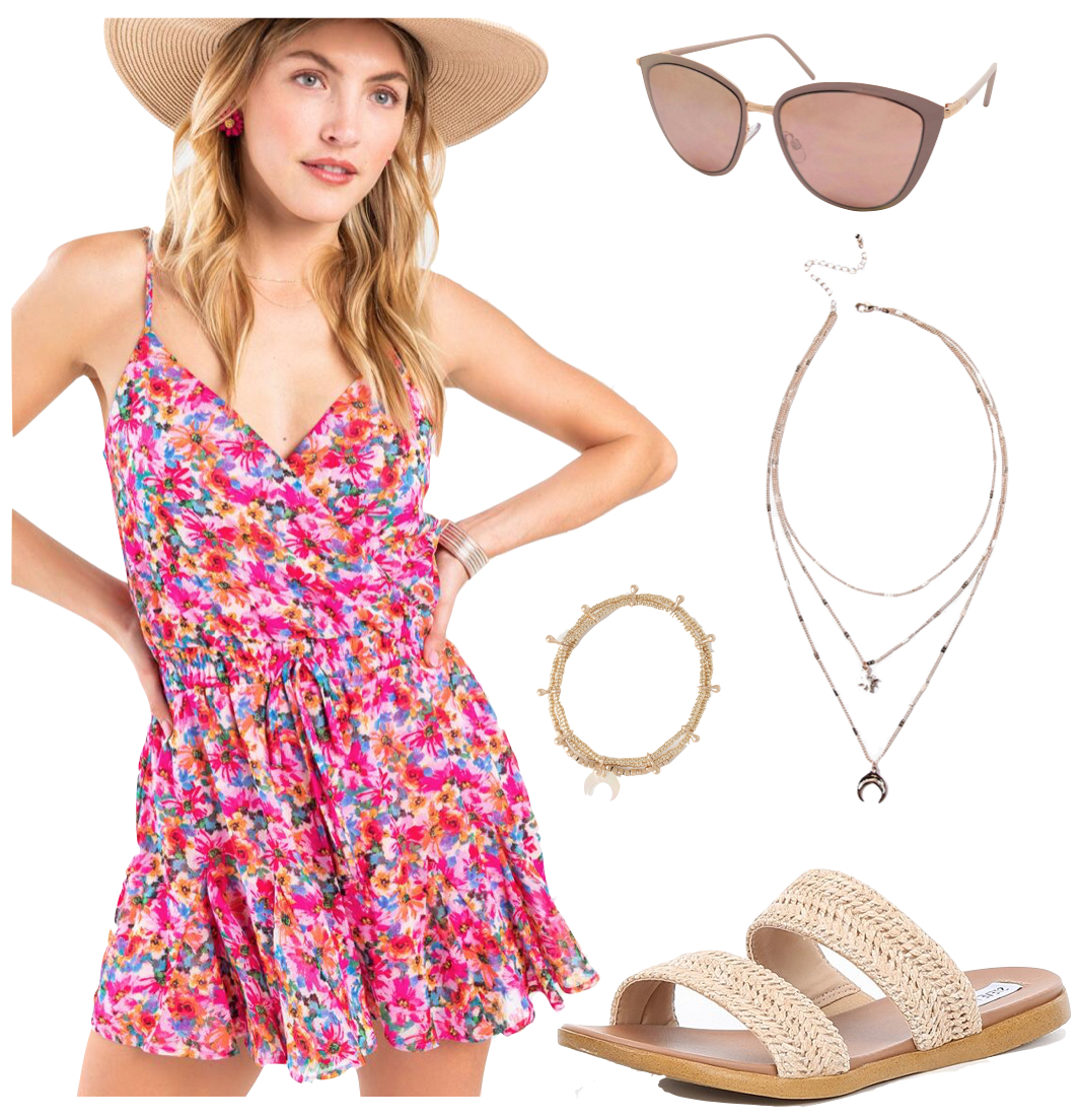 Vanessa Hudgens Outfit #1: pink floral print romper, rose gold sunglasses, layered gold necklace, gold bracelet set, flat straw sandals sandals