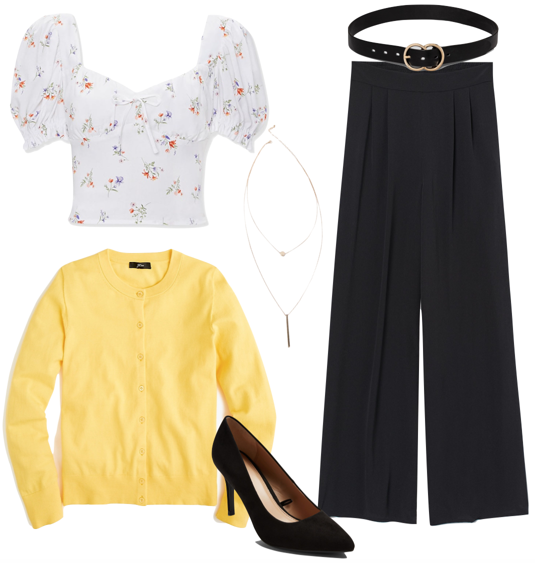Vanessa Hudgens Outfit #2: white floral bustier top, black wide leg pants, black and gold double circle belt, yellow cardigan sweater, layered gold necklace, and black pumps