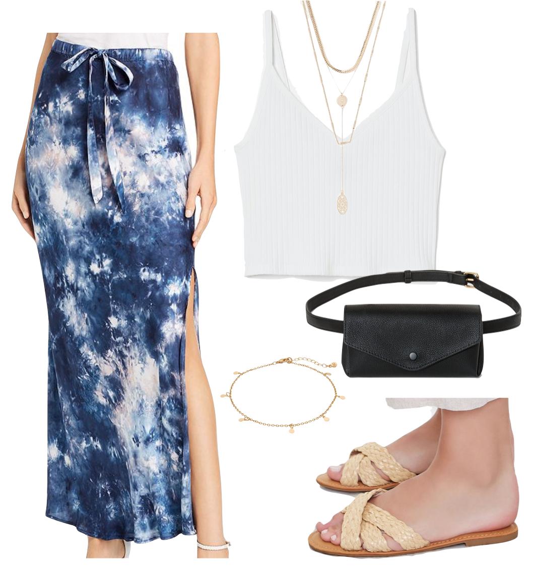 Vanessa Hudgens Outfit #3: blue tie-dye maxi slit maxi skirt, white crop tank top, layered lariat necklace, gold anklet, black belt bag, and straw crisscross flat slide sandals