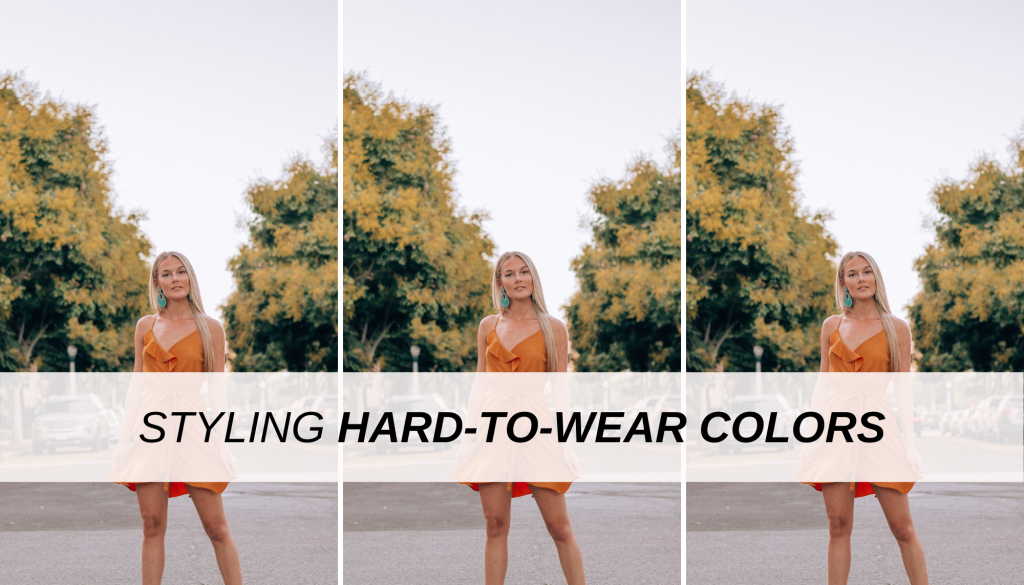 How to style hard to wear colors - photo of a woman in orange dress