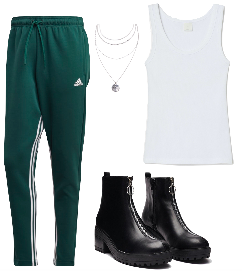 Zoe Kravitz Outfit 3: white tank top, green Adidas stripe side track pants, layered silver necklace, and chunky black zipper-front boots