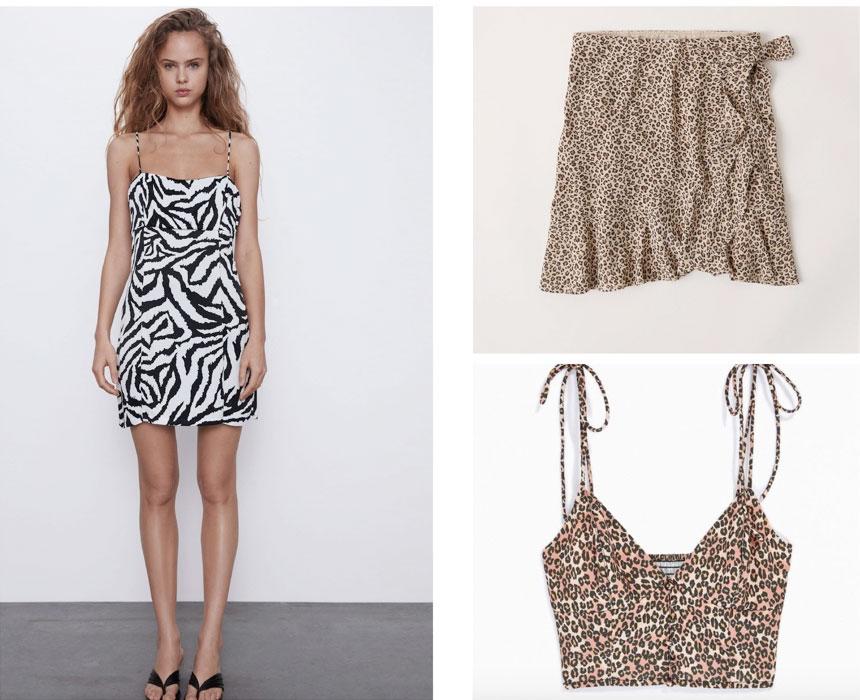 College party clothes: A zebra dress, cheetah print skirt, and cheetah print top