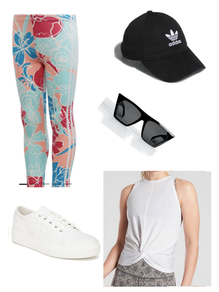 Athleisure outfit for summer with white sneakers, printed leggings, sunglasses, tie-front top