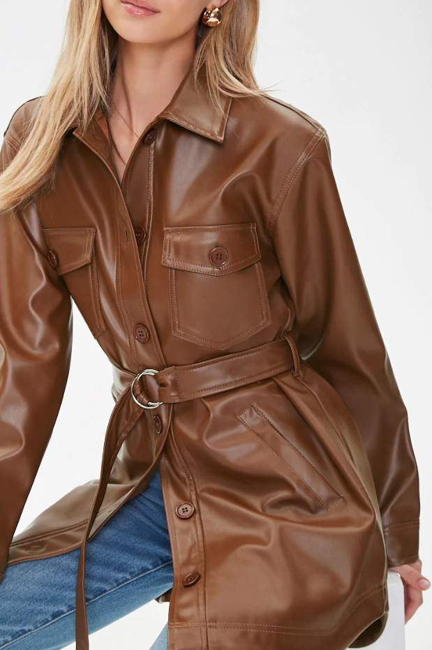 caramel-colored belted faux leather jacket