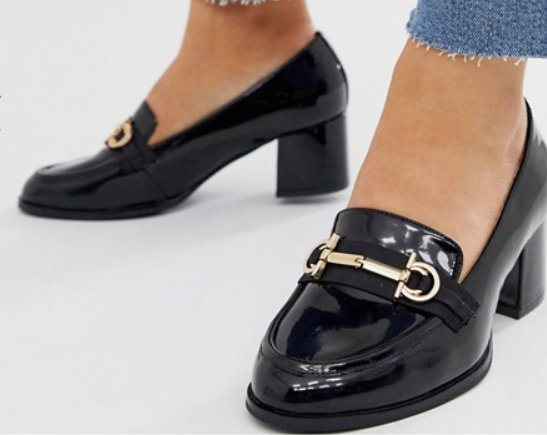 Wide Fit Stirrup Mid-Heeled Loafers