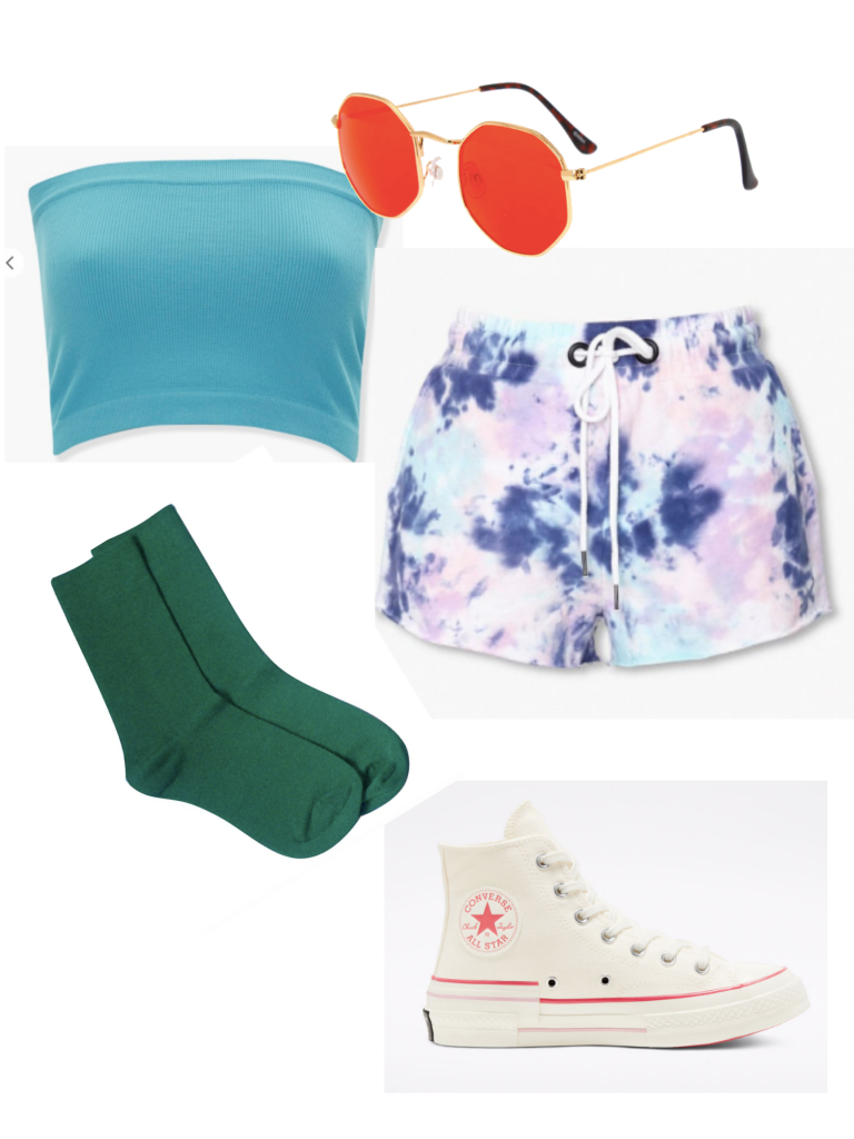 Colorful summer outfit with tie dye shorts, Converse, a blue tube top, and colorful sunglasses