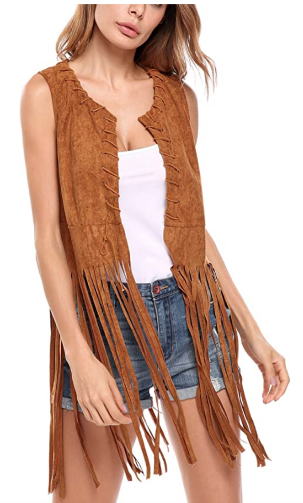 Boho style camel suede fringe vest