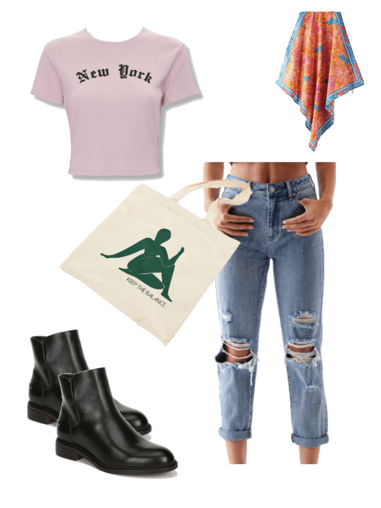 How to wear ankle booties in summer: Black ankle boots, ripped jeans, New York crop top, scarf, reusable tote bag