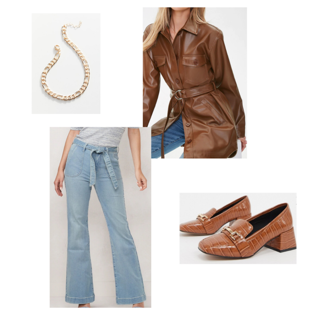 Chic capsule wardrobe outfit idea - Gold chain link necklace, leather trench, chunky loafers, wide leg jeans