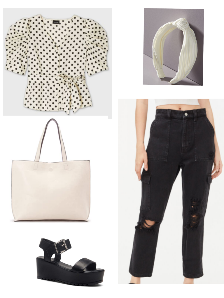 Black and white outfit for summer: Black ripped jeans, polka dot top, tote bag, chunky platform sandals, white headband