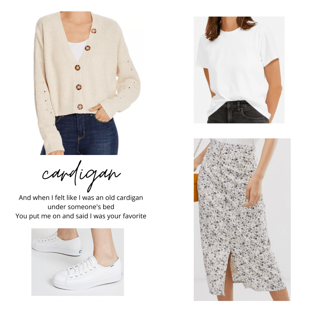 Taylor Swift folklore fashion: Outfit inspired by the track cardigan with button down cardigan, white t-shirt, floral skirt, Keds sneakers