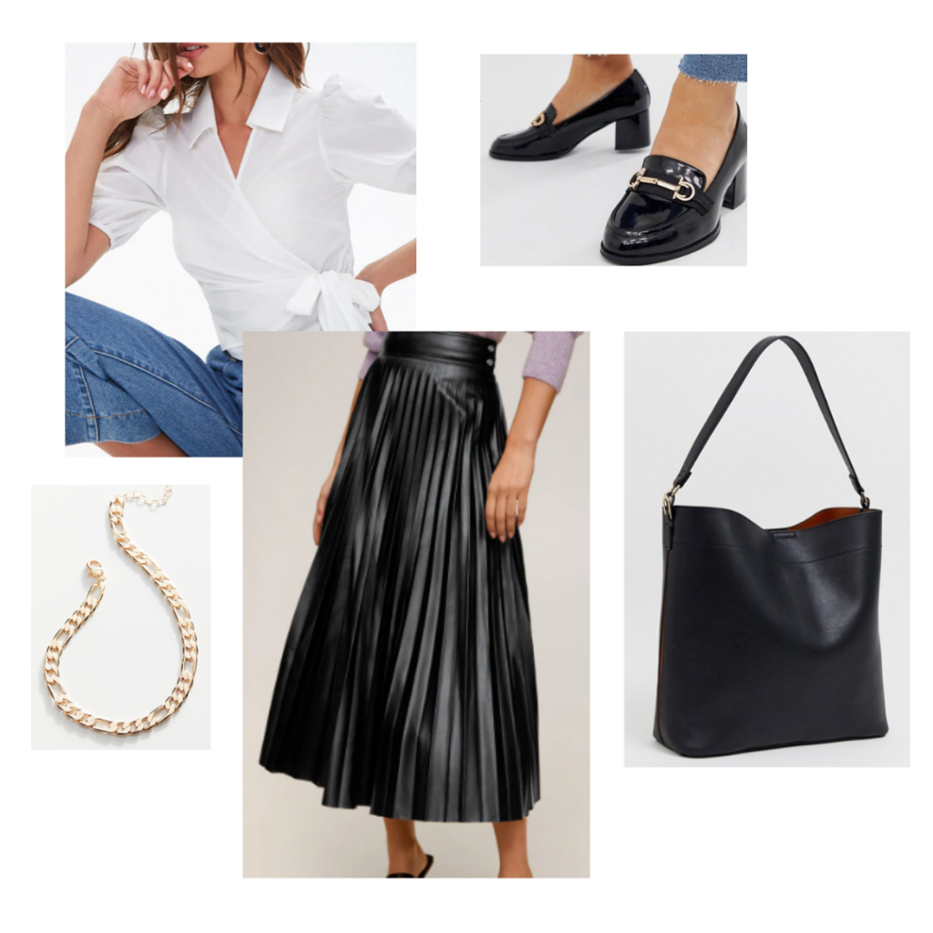 Chic capsule wardrobe outfit idea - White blouse, pleated black leather maxi skirt, black loafers, paired with a chain necklace and over-sized tote bag.