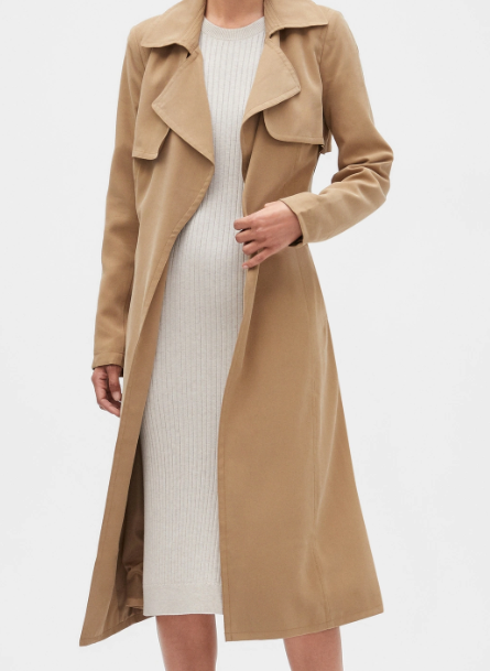long soft camel trench coat