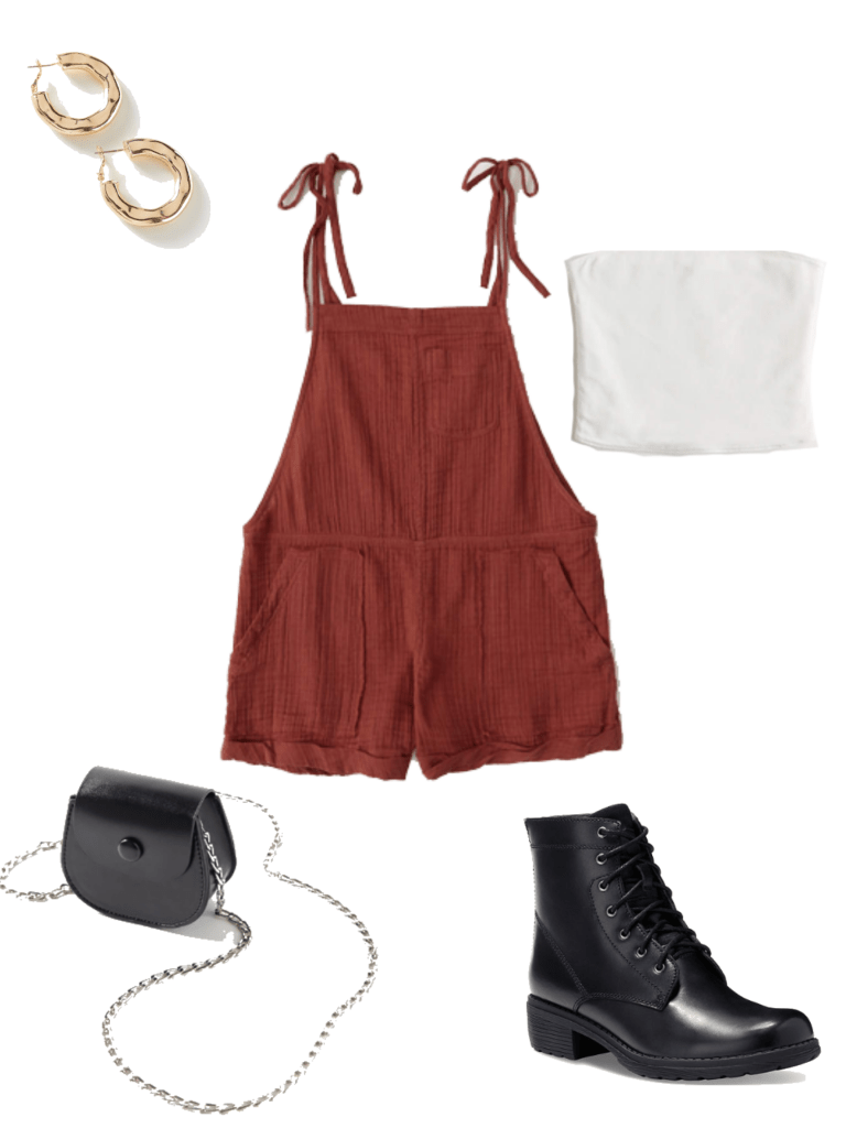 How to wear lace up ankle booties in summer: Outfit with maroon fabric overalls, chain strap purse, white tube top, gold earrings