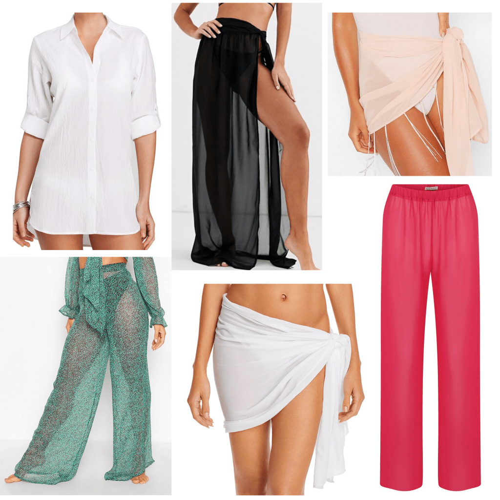 Beach accessories - sarongs and sheer pants to pair with swimwear
