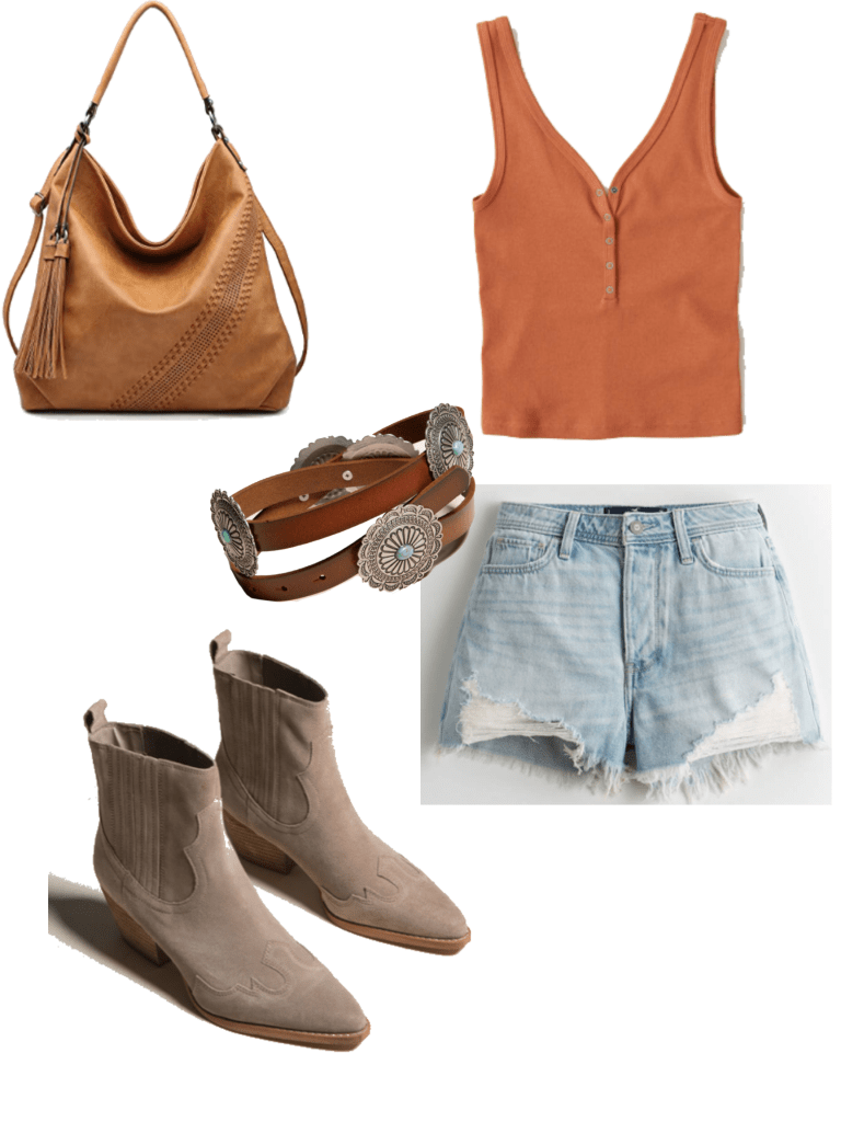 How to wear western ankle boots in the summer: Outfit with cutoff shorts, orange crop top, western belt, fringe bag