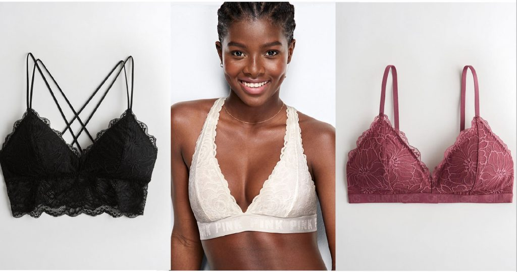 College party clothes: A black bralette, white bralette, and red bralette