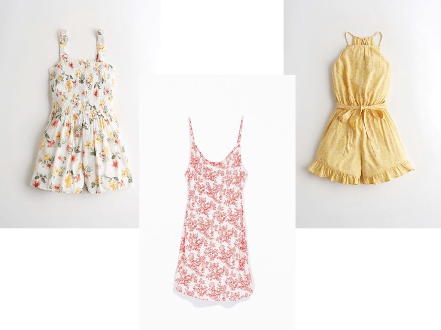 A yellow dress, a pink floral dress, and a white floral dress