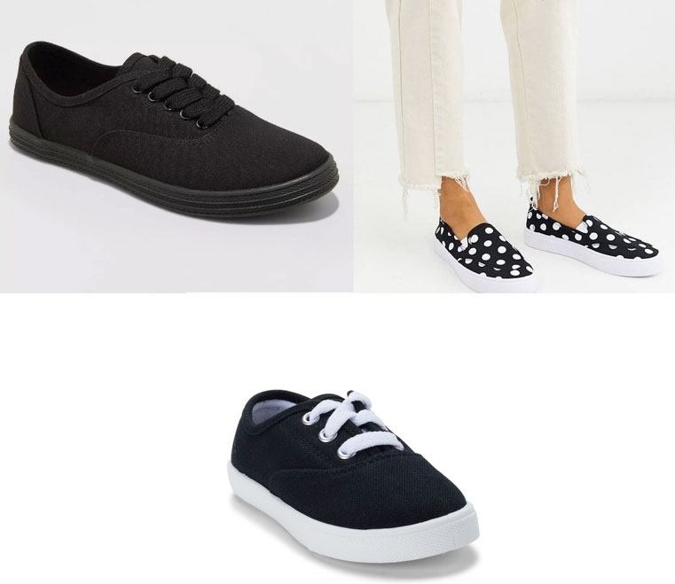 Two pairs of black sneakers and polka dotted black and white slip ons