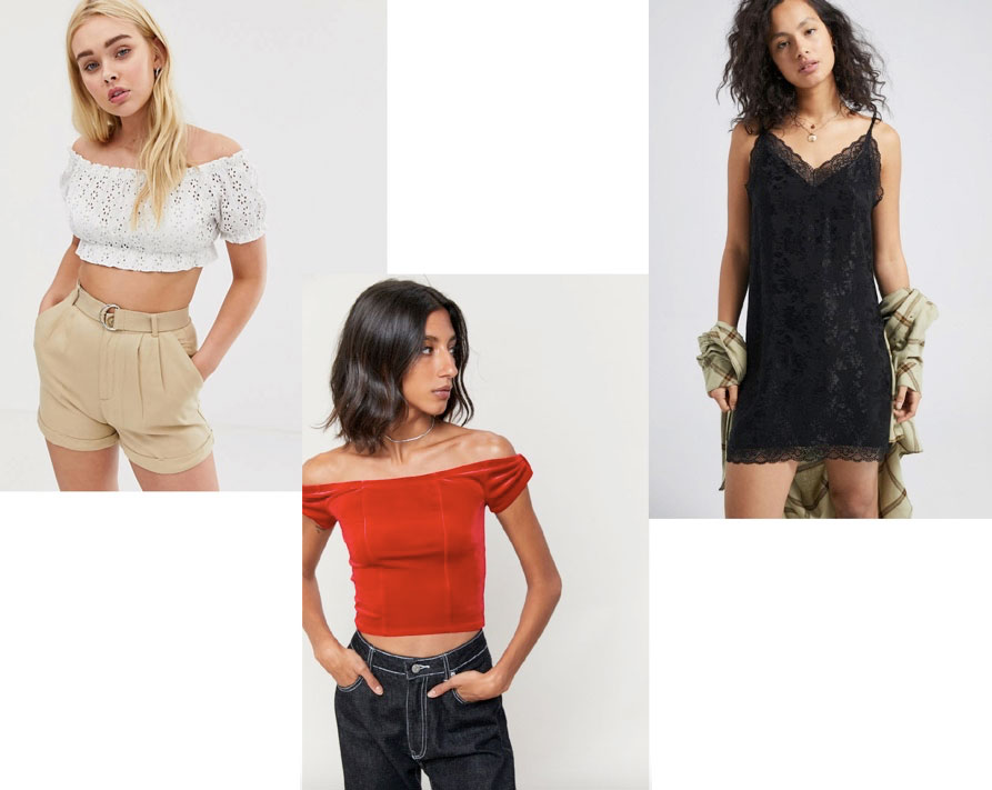 College party clothes: A white crop top, a red crop top, and a black dress