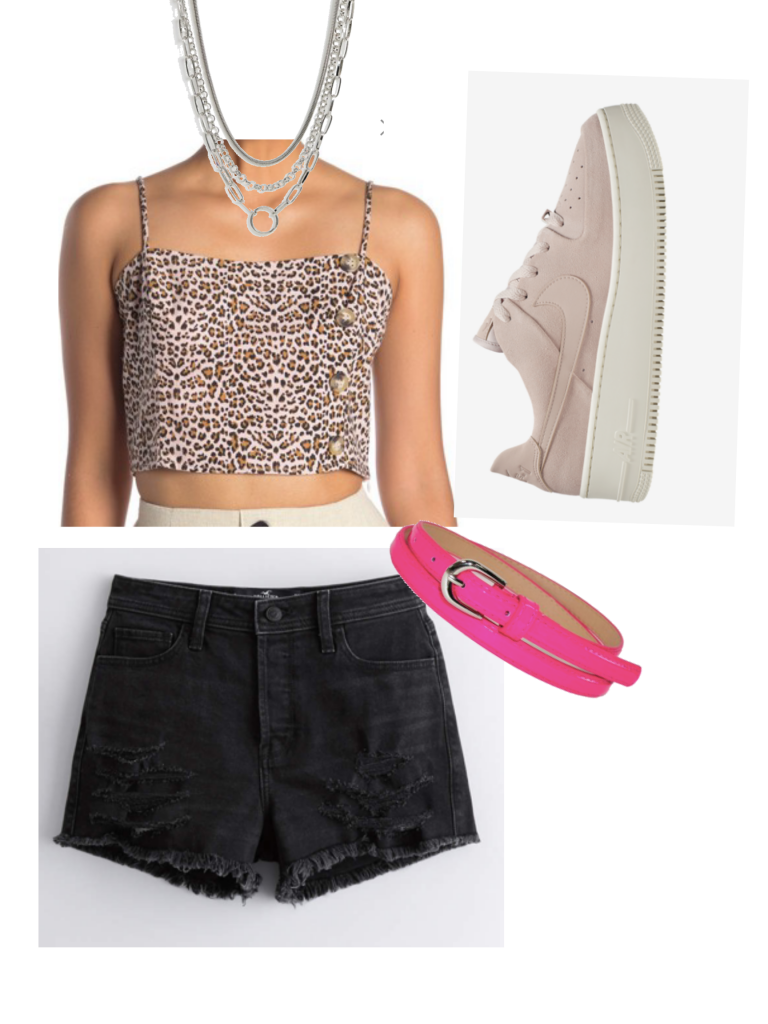 Edgy take on a casual summer outfit with black shorts, platform sneakers, layered necklaces, leopard crop top