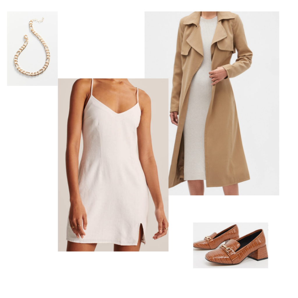 Chic capsule wardrobe outfit idea - Simple chic white dress paired with brownloafers, long semi-fitted trenchoat, and statement chain link necklace.