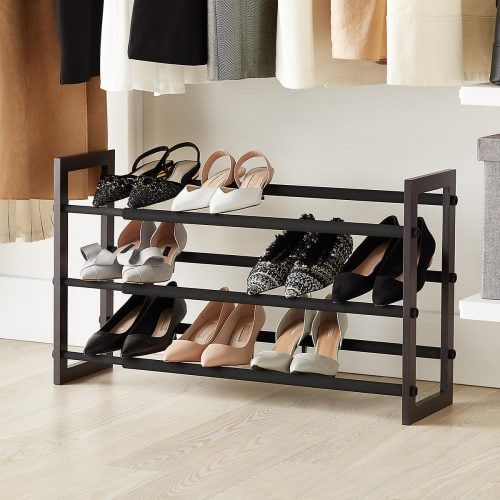 Adjustable shoe rack from The Container Store for dorm organization