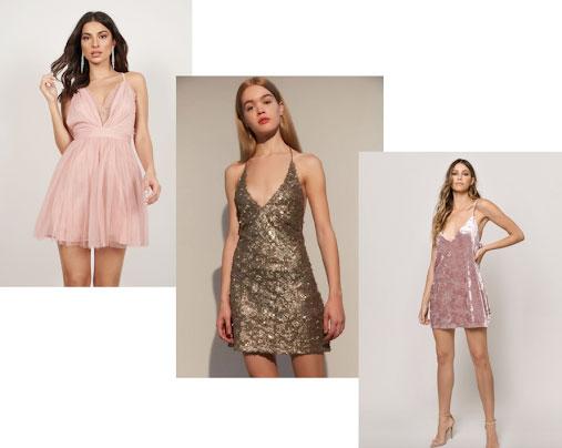 Formal dresses for college: Pink tulle dress, gold sequin dress, and pink velvet dress