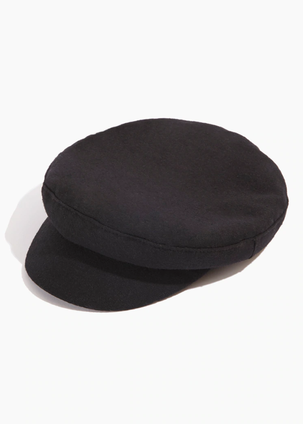 small black cabbie hat