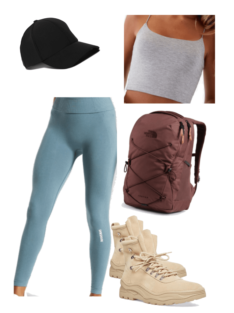 How to wear hiking boots in summer with blue leggings, gray crop tank, black hat, backpack