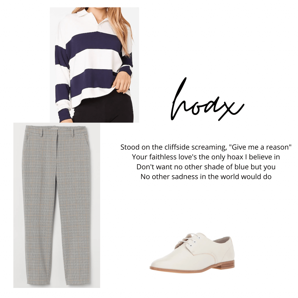 Taylor Swift Hoax inspired outfit: Plaid pants, striped rugby shirt, oxford shoes